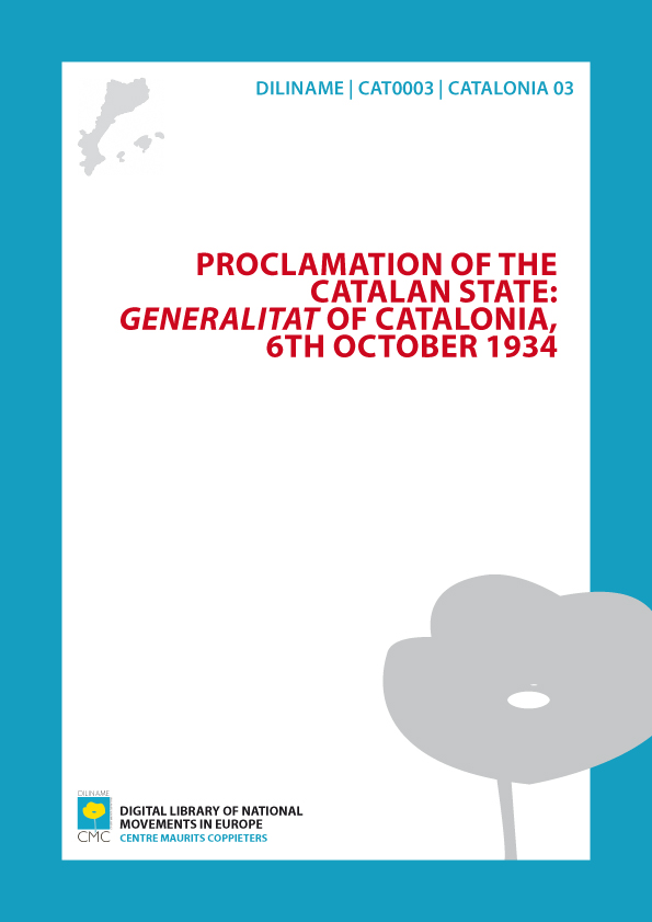 Proclamation of the Catalan state: Generalitat of Catalonia (1934)