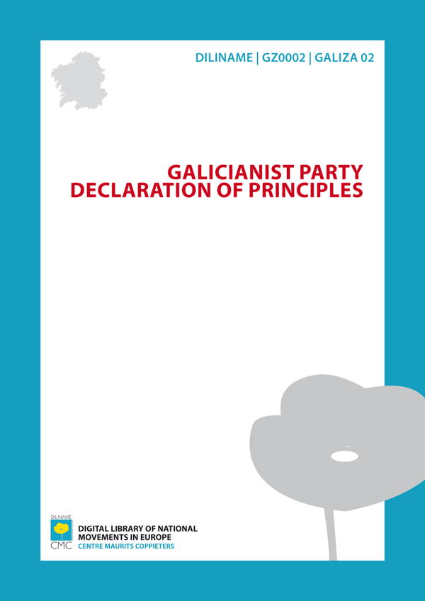 Galicianist Party. Declaration of principles (1931)
