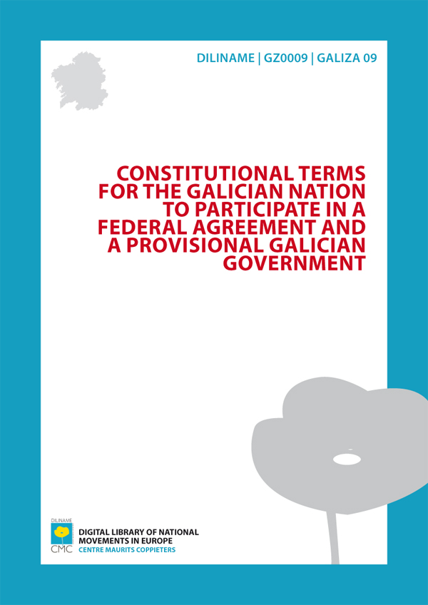 Constitutional Terms for the Galician Nation to participate in a federal agreement and a Provisional Galician Government (1976)